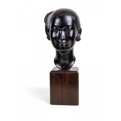 Bronze Head - Young Asian Woman - Indochina Early Twentieth