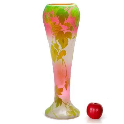 Grand Vase Legras - Feuilles De Vignes Sur Fond Rose
