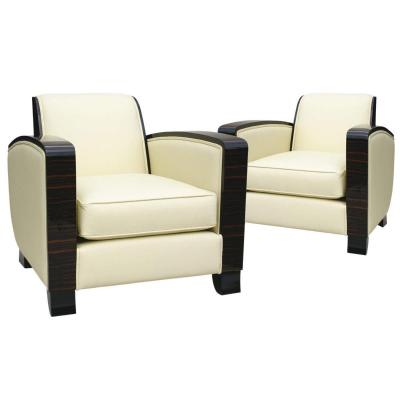 Pair Of Art Deco Club Armchairs - Leather And Macassar