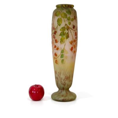 Grand Vase Daum - Feuillage Vert Et Rouge