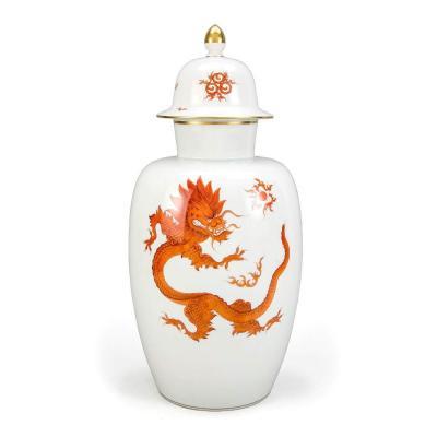 Grand Vase à Décor De Dragon Ming Rouge - Meissen - 52 Cm