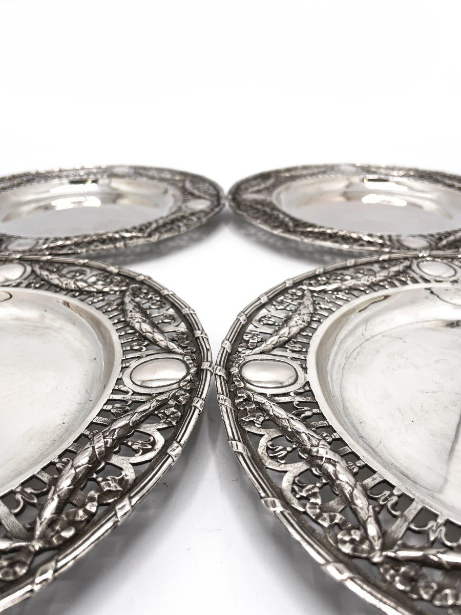 4 Dessert Plates In Solid Belgian Silver-photo-2