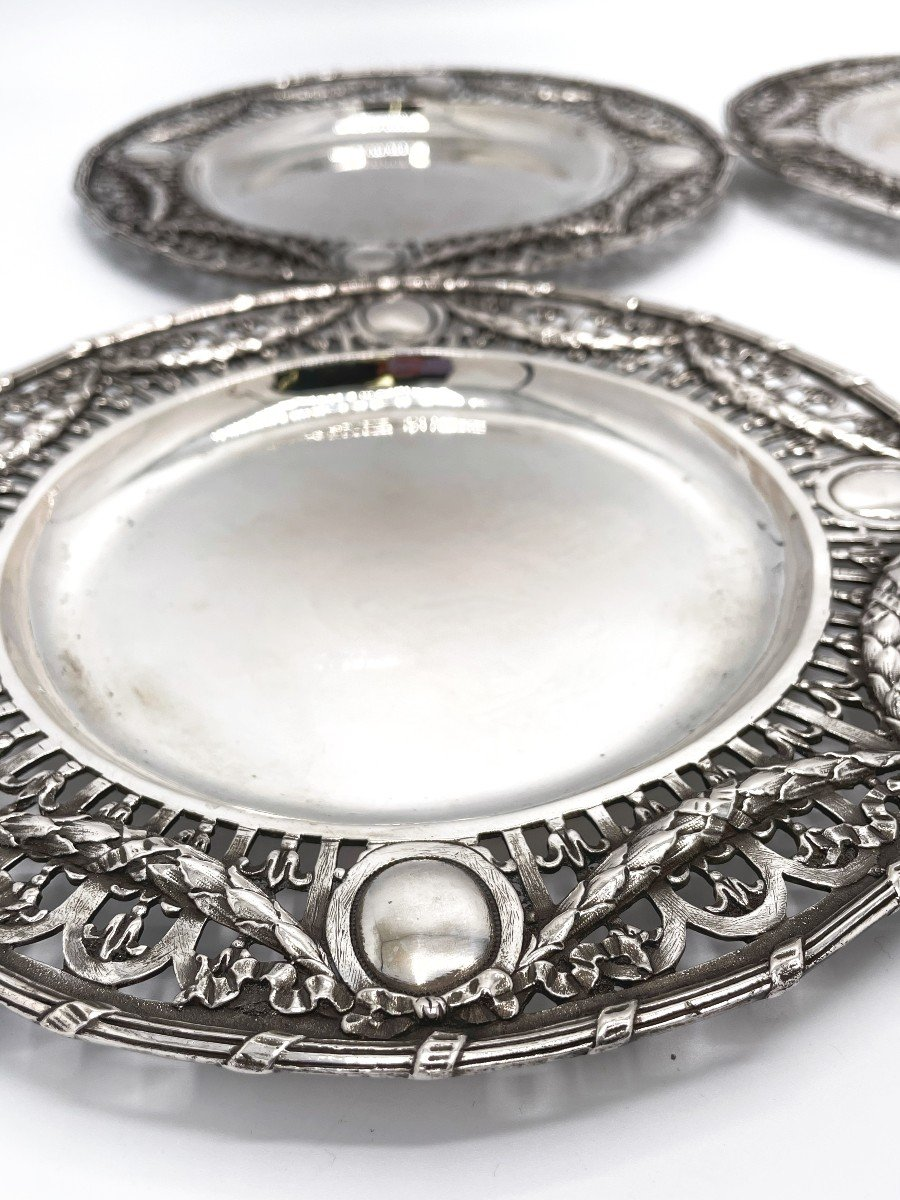 4 Dessert Plates In Solid Belgian Silver-photo-3