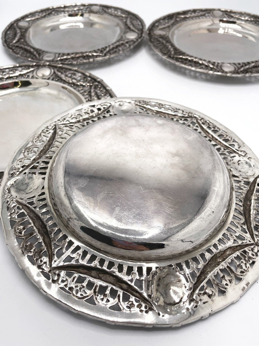 4 Dessert Plates In Solid Belgian Silver-photo-1