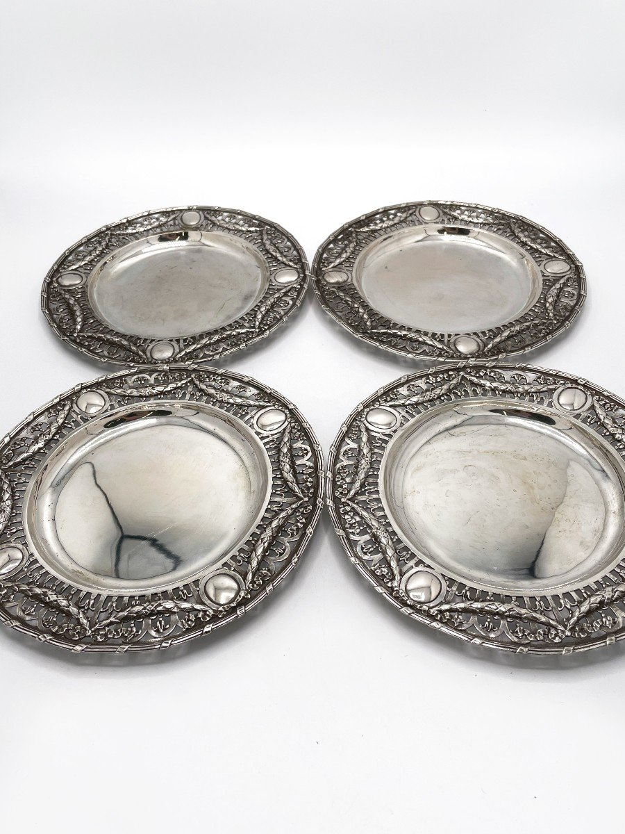 4 Dessert Plates In Solid Belgian Silver-photo-4