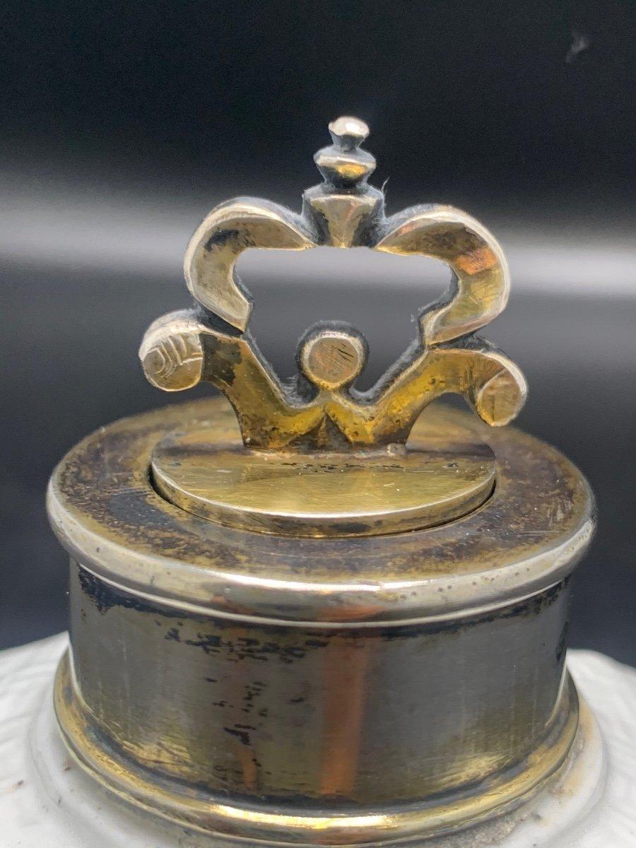 """tea Caddy"" Tea Flask 18 Th Silver Vermeil And Porcelain.-photo-3"