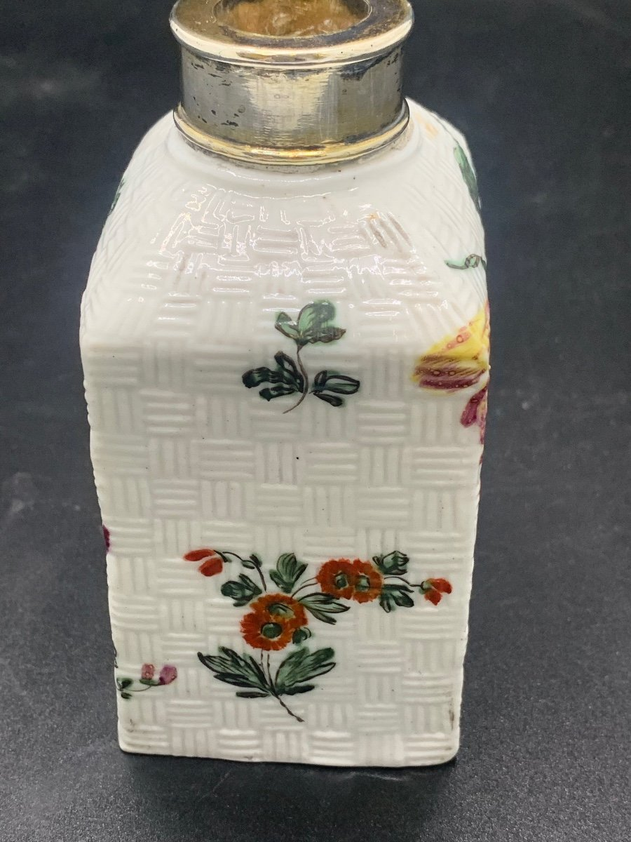 """tea Caddy"" Tea Flask 18 Th Silver Vermeil And Porcelain.-photo-4"