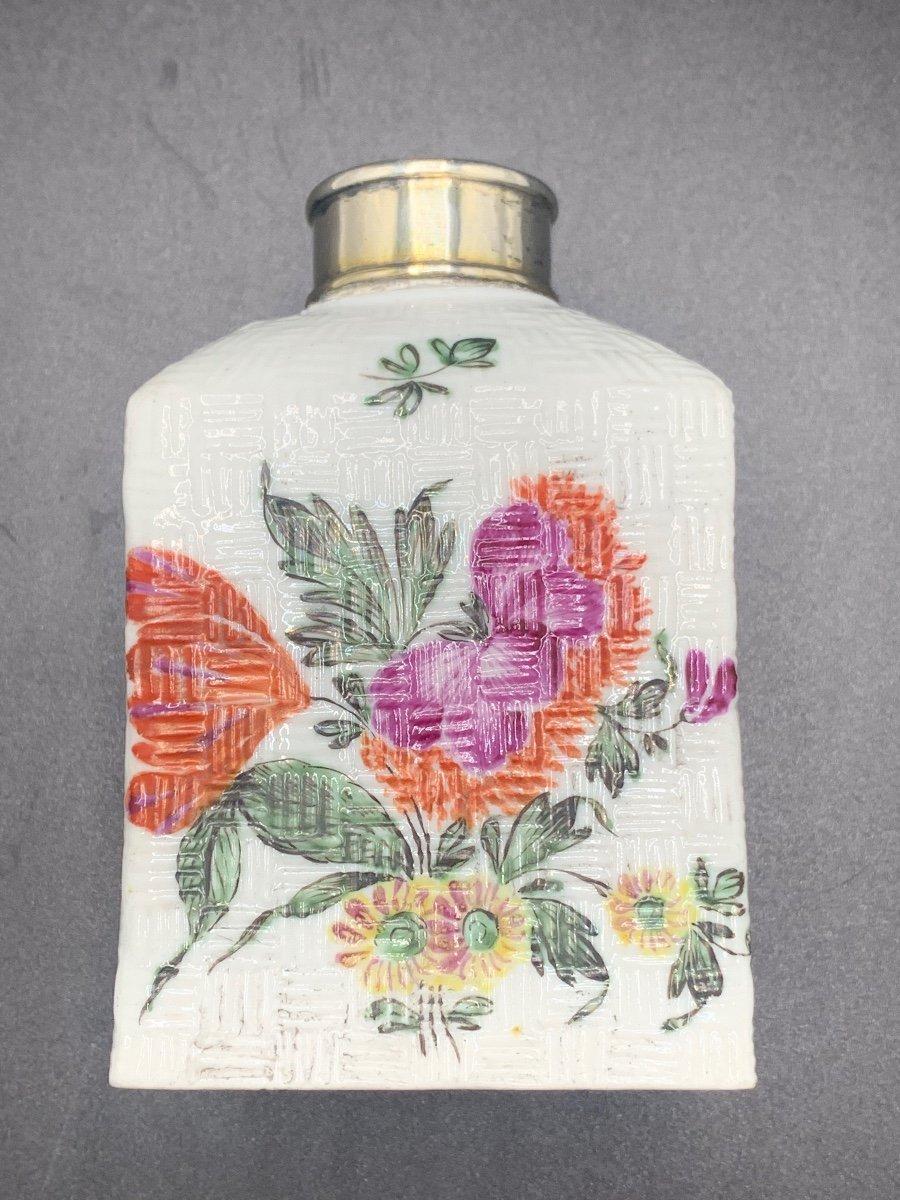"""tea Caddy"" Tea Flask 18 Th Silver Vermeil And Porcelain.-photo-5"