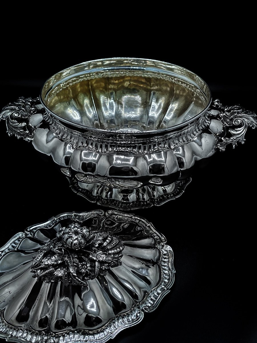 Soup Tureen In Silver 800/1000 Italian-photo-4