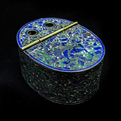 Superb 19th Chinese Inkwell In Enamelled Silver