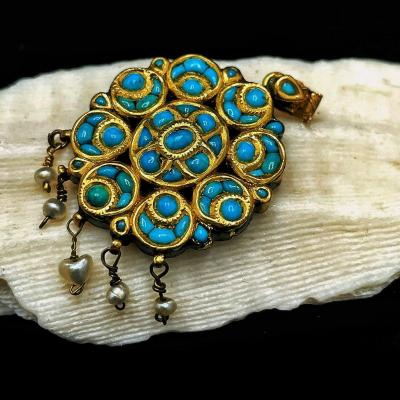 Bijoux pendentif indien Moghol en or