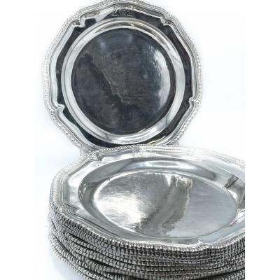 12 Large Plates In Sterling Silver With Strafford Arms