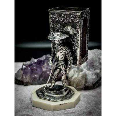 Match Holder For Cigar Smokers In Sterling Silver