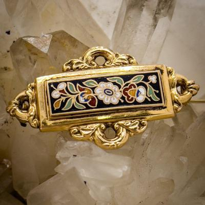 Brooch Napoleon Lll Period, 18 Carat Gold And Polychrome Enamel
