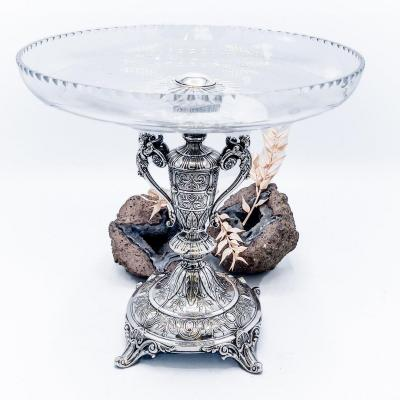 Crystal And Sterling Silver Centerpiece Cup