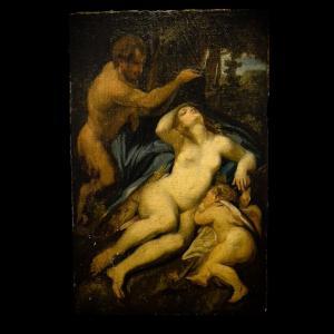Venus, Satyr And Cupid Oil On Marouflaged Canvas