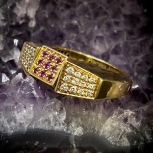 Bague Vintage Or 18 Carats Serties De Diamants Saphirs Rubis Et émeraude