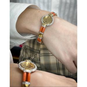 Montre Chopard Joaillerie en or 18 Carats Diamants et Corail