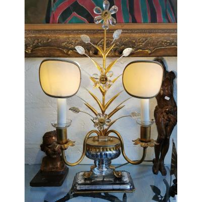 1970's Large Lamp Base From Maison Baguès With Two Lights 64 Cm
