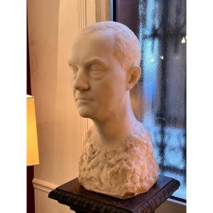 Buste d'Homme En Marbre De Carrare Signé De Anna Quinquaud