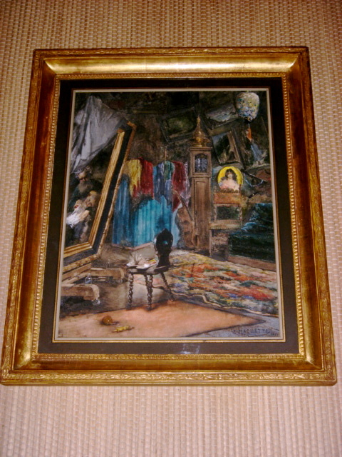 """Grande Aquarelle Signée Georges Haquette 1877 """"intérieur de son atelier"""""""