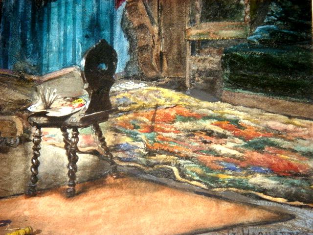 Grande Aquarelle Encadrée Signée Georges Haquette 1877 -photo-4