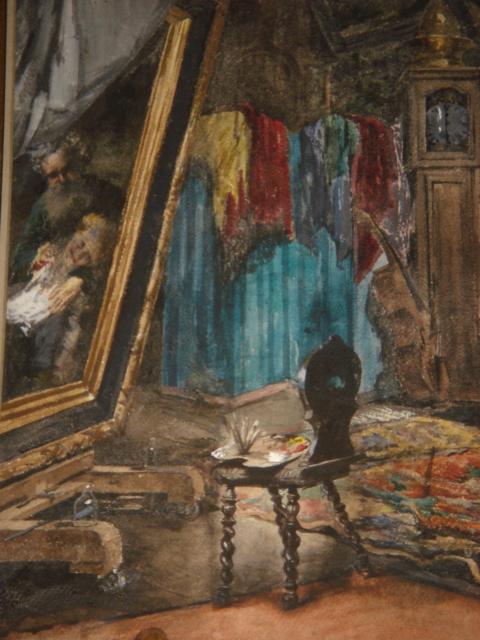 Grande Aquarelle Encadrée Signée Georges Haquette 1877 -photo-1