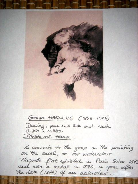 Grande Aquarelle Encadrée Signée Georges Haquette 1877 -photo-2
