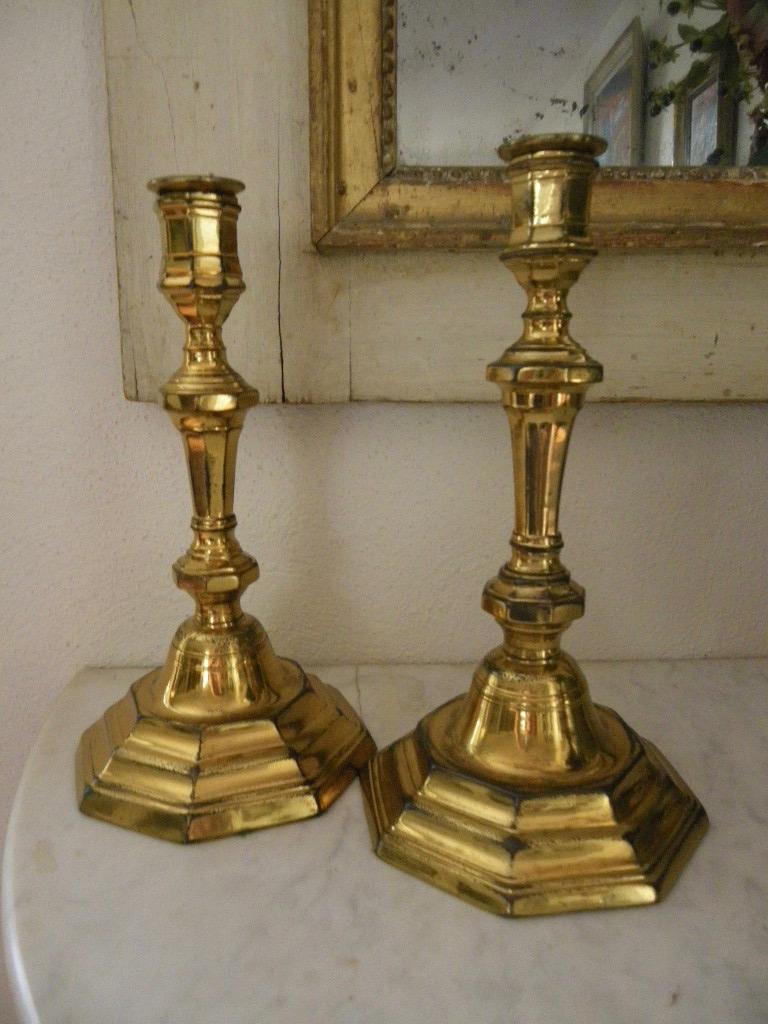 Paire De Bougeoirs bronze doré Louis XIV-photo-2