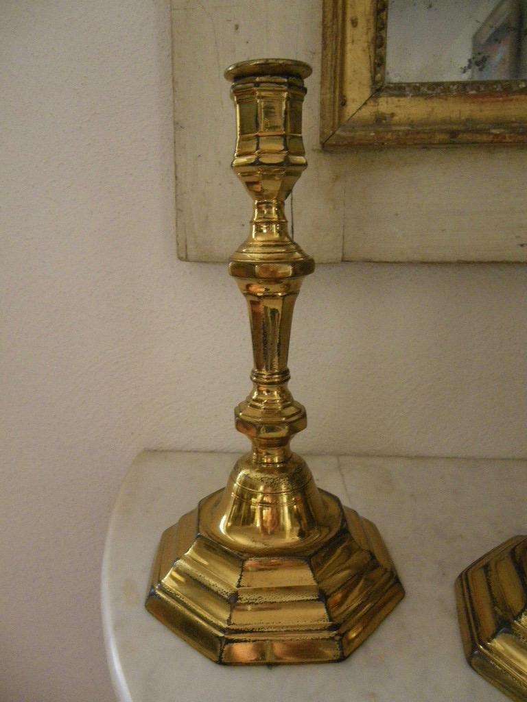 Paire De Bougeoirs bronze doré Louis XIV-photo-3