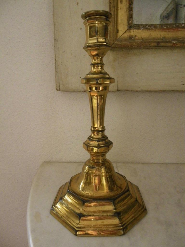 Paire De Bougeoirs bronze doré Louis XIV-photo-4
