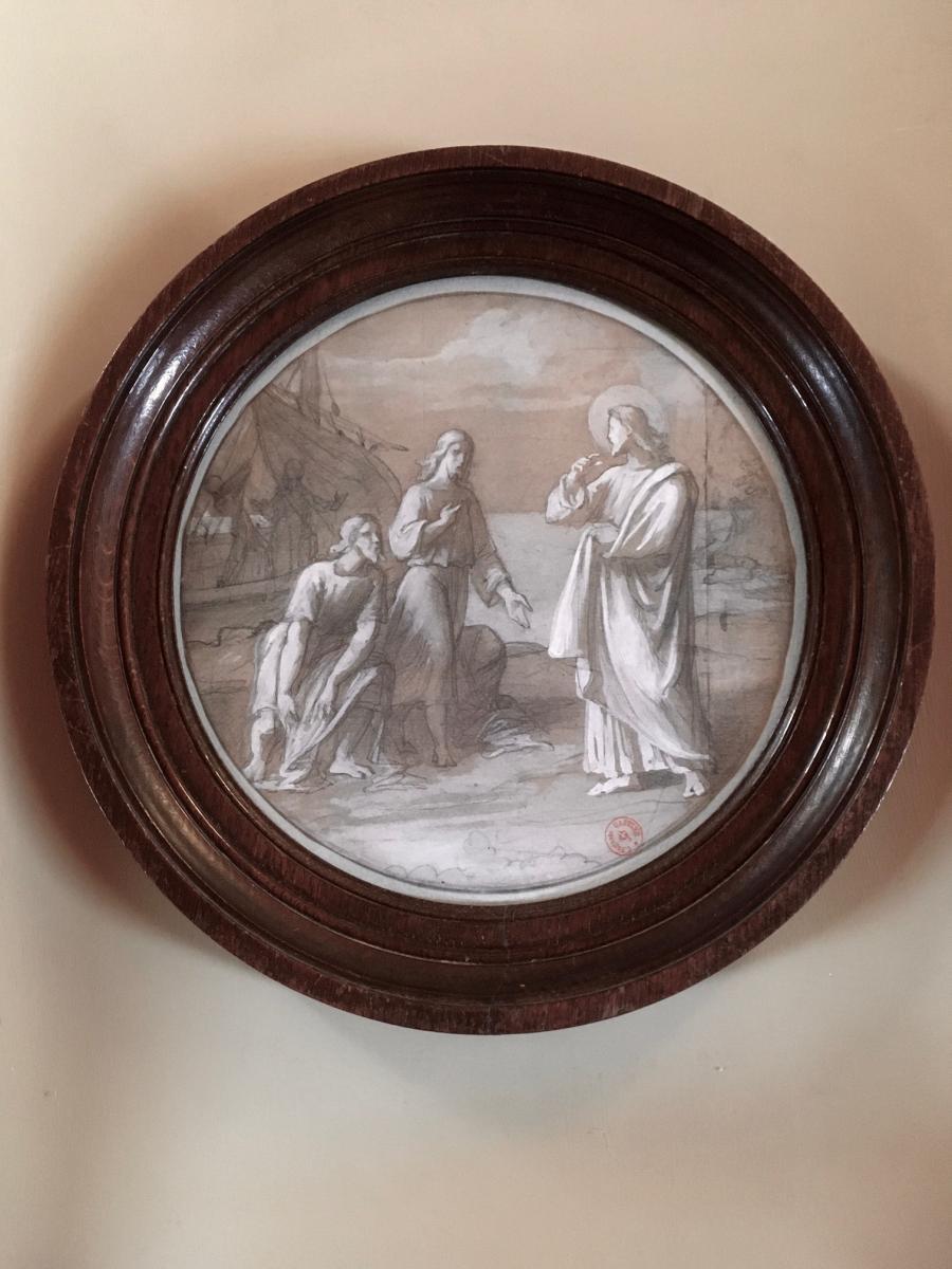 Dessin Encadré  XIXe Par Camille-Auguste Gastine