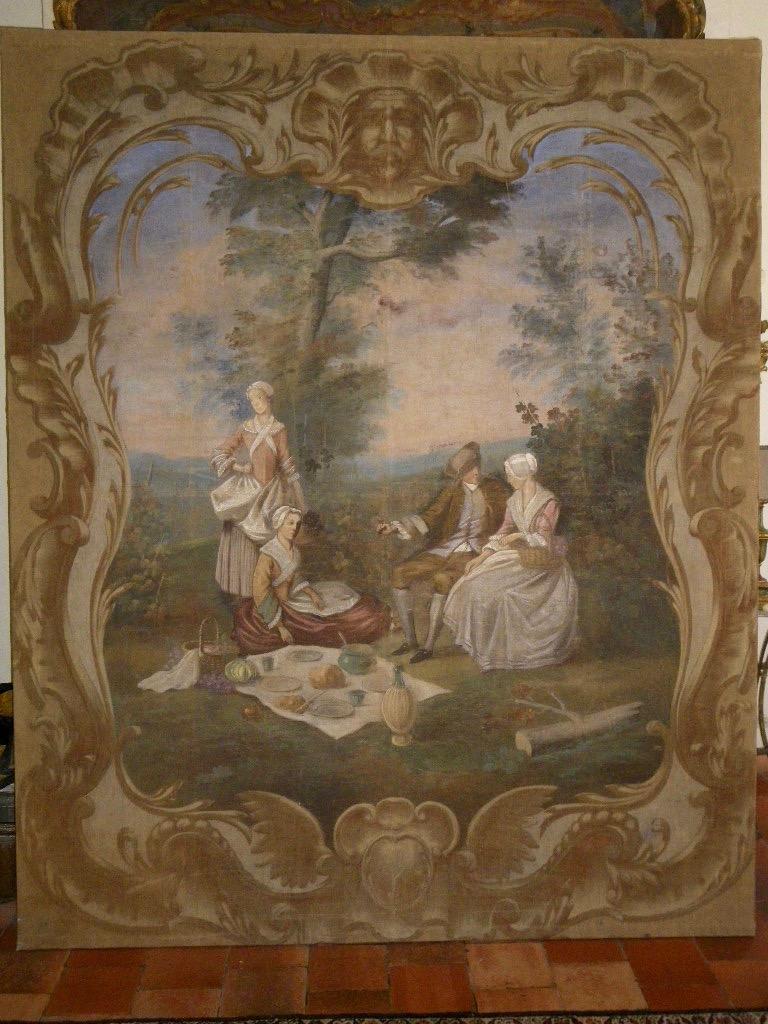 Grande toile peinte provençale XVIIIe