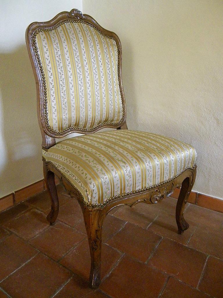 Large Chaise En Hêtre Fin époque Régence