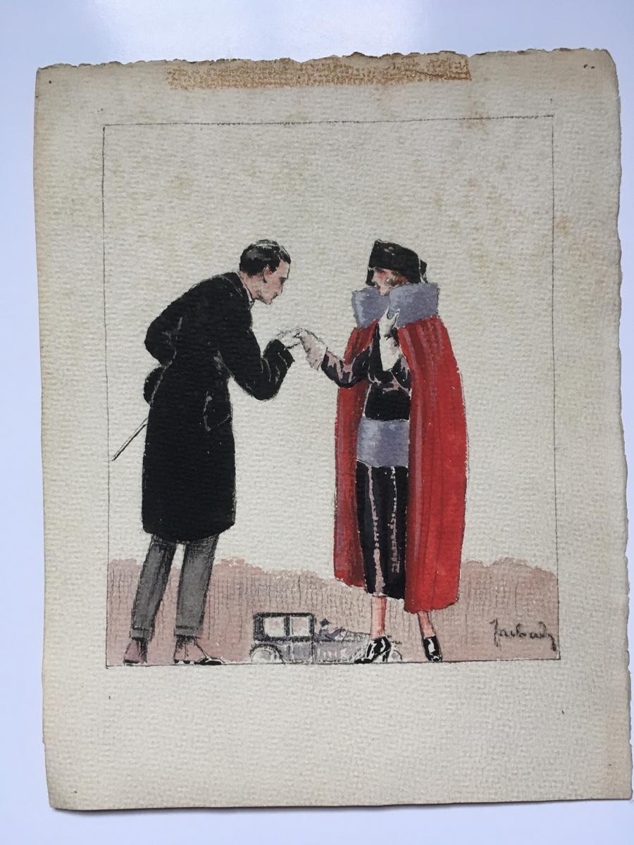 """3 Gouaches """"Femmes du monde"""" 1920 Signées-photo-2"""