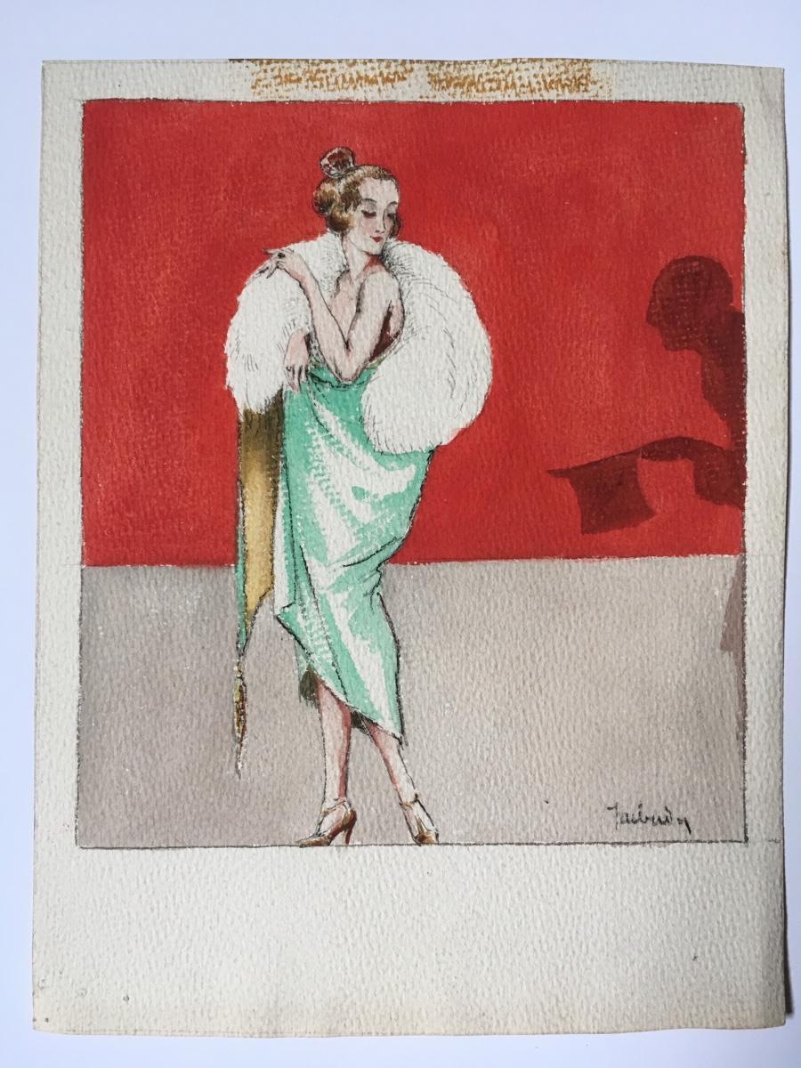 """3 Gouaches """"Femmes du monde"""" 1920 Signées-photo-1"""
