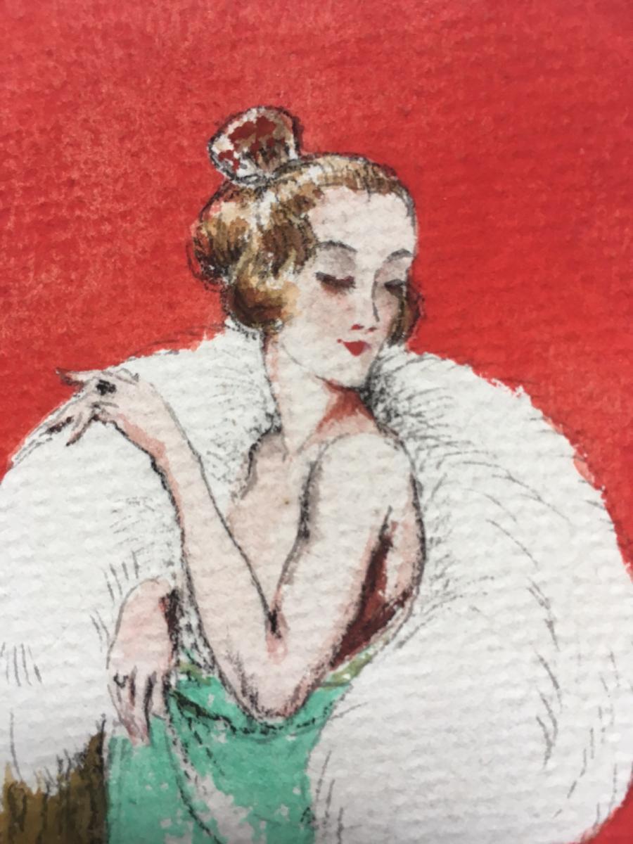 """3 Gouaches """"Femmes du monde"""" 1920 Signées-photo-3"""