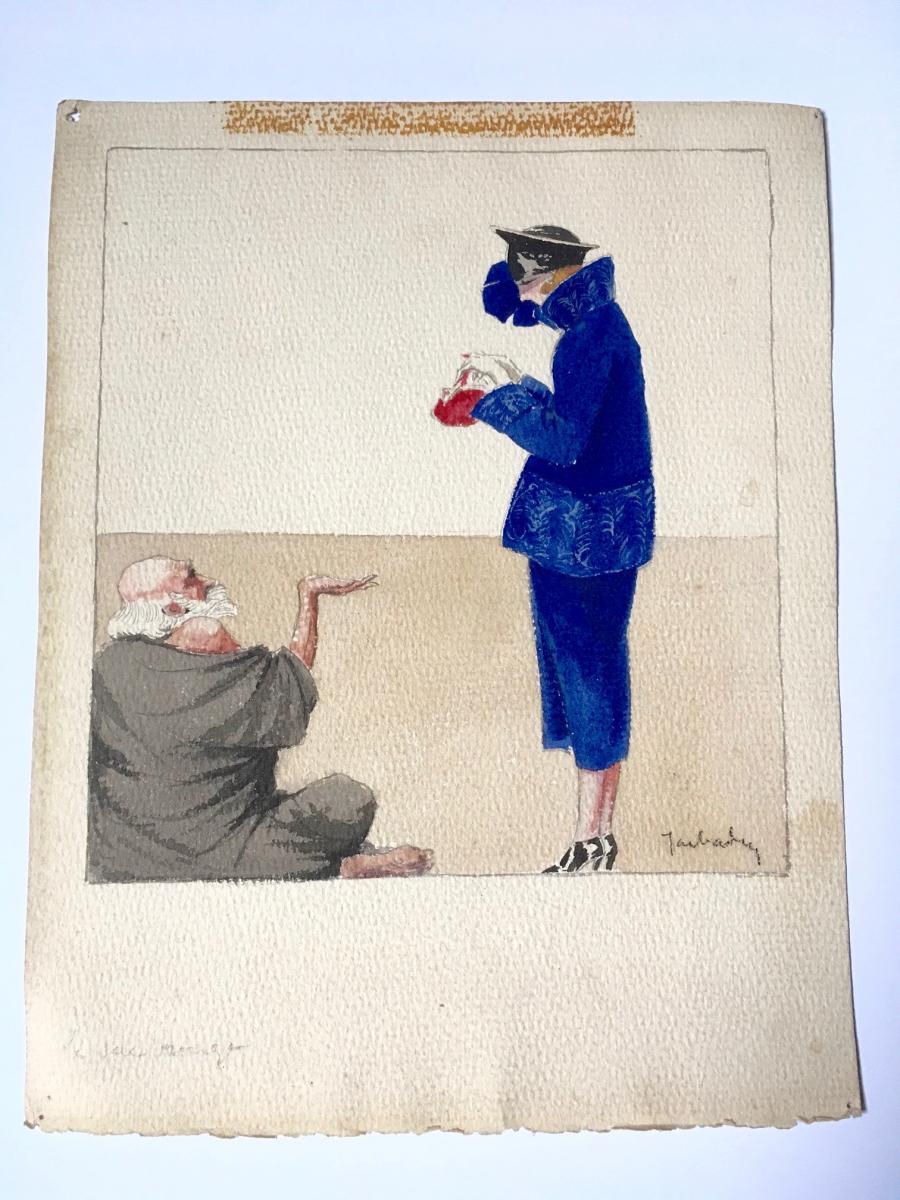 """3 Gouaches """"Femmes du monde"""" 1920 Signées-photo-4"""