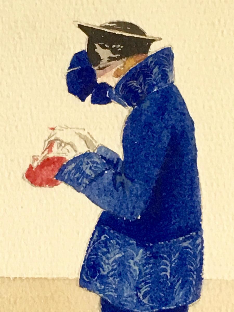 """3 Gouaches """"Femmes du monde"""" 1920 Signées-photo-5"""