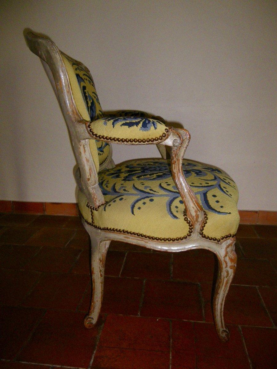 Suite de quatre fauteuils d'époque Louis XV estampillés L.C. Carpentier-photo-1