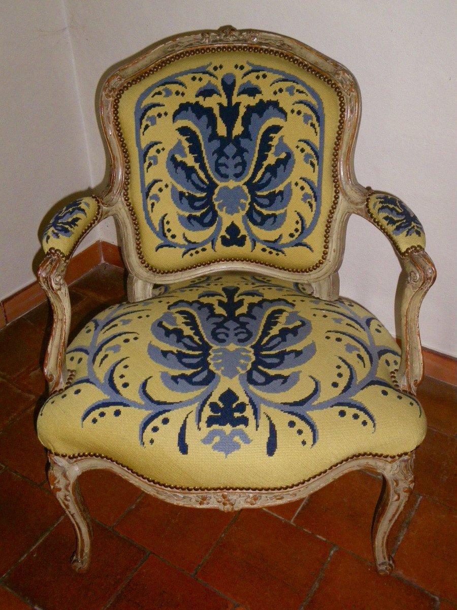 Suite de quatre fauteuils d'époque Louis XV estampillés L.C. Carpentier-photo-2