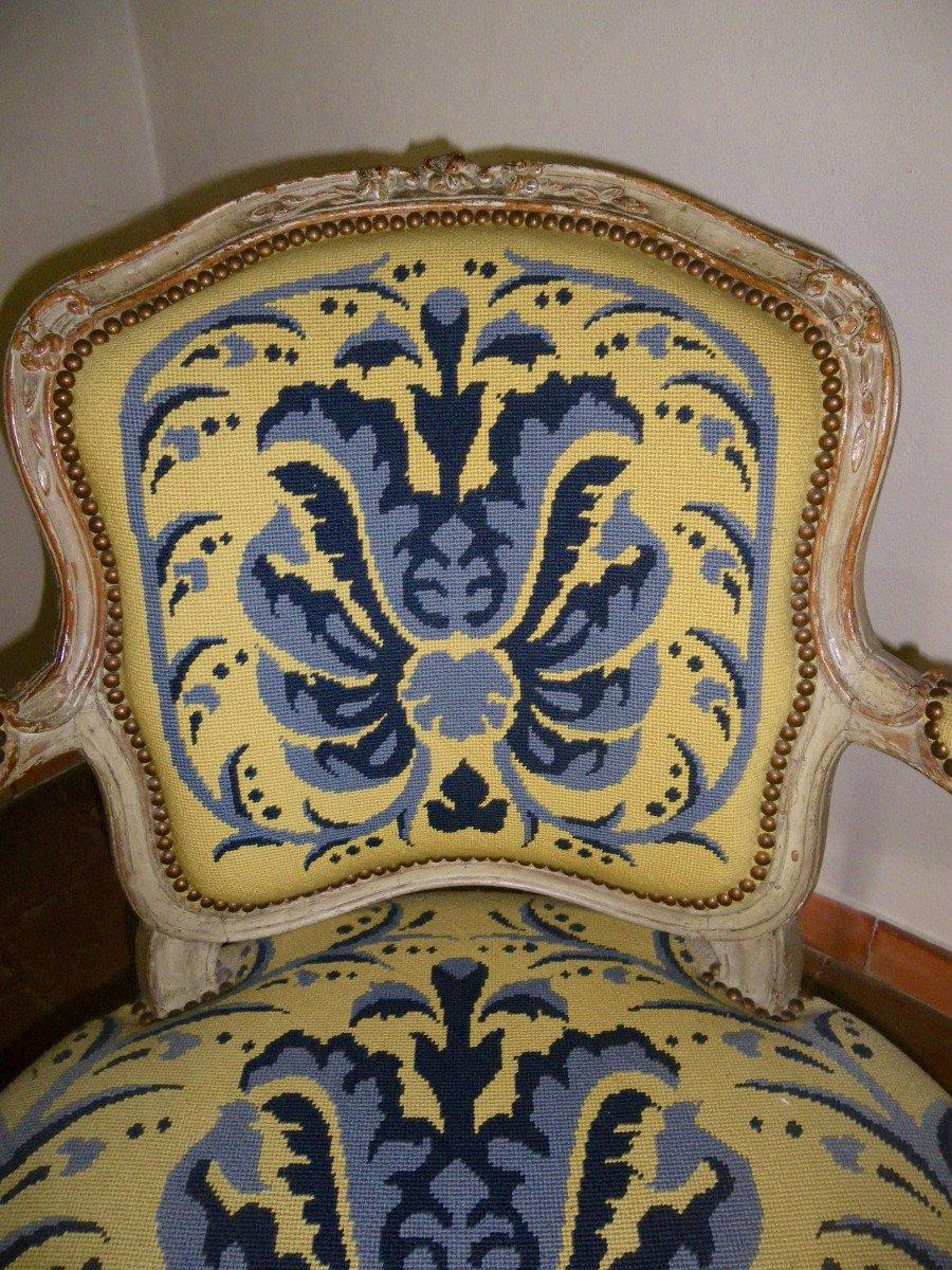 Suite de quatre fauteuils d'époque Louis XV estampillés L.C. Carpentier-photo-3