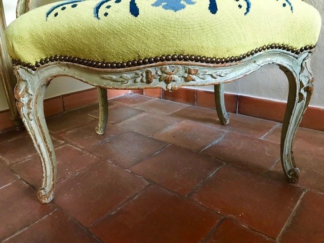 Suite de quatre fauteuils d'époque Louis XV estampillés L.C. Carpentier-photo-4