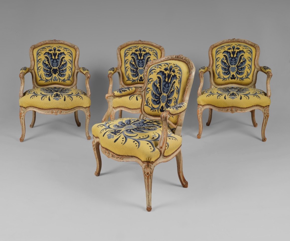 Suite de quatre fauteuils d'époque Louis XV estampillés L.C. Carpentier-photo-8