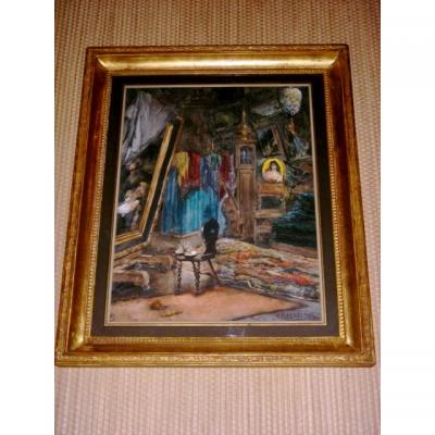 Large Framed Watercolor Signed By Georges Haquette 1877