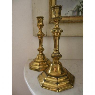 Paire De Bougeoirs bronze doré Louis XIV