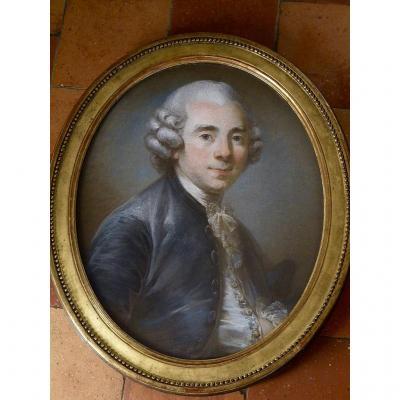 Pastel XVIIIe Portrait d'Homme Attr. à L.P. Glain