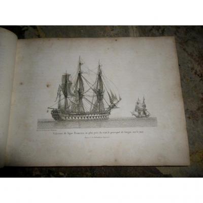 """Ouvrage Relié """"marine De Guerre Et Marchande"""" Par Baugean édition 1814"""