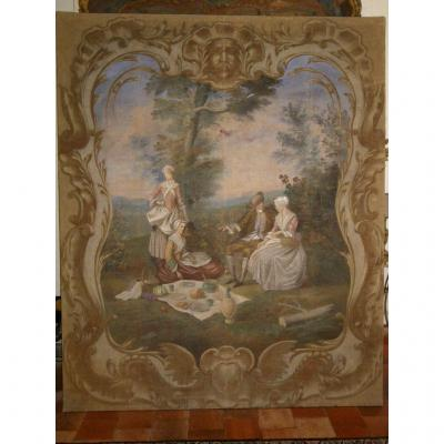 Large Painted Canvas Provencal 18th