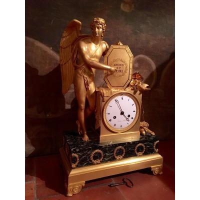 Empire Period Gilded Bronze Clock 19th